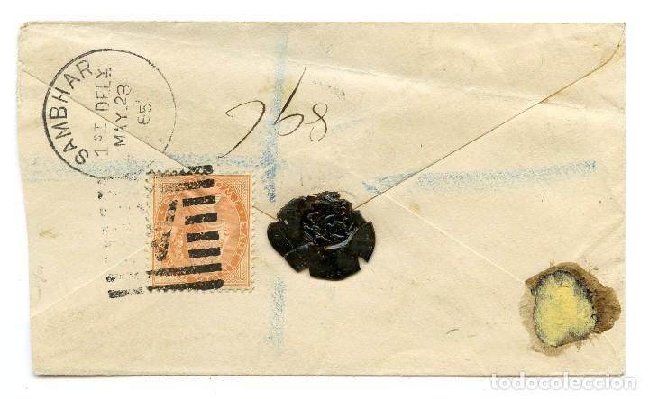 Sellos: 1885. Sobre entero postal enviado de Bareilly a Sambhar, India, con franqueo adicional de 2 annas. - Foto 2 - 254620735