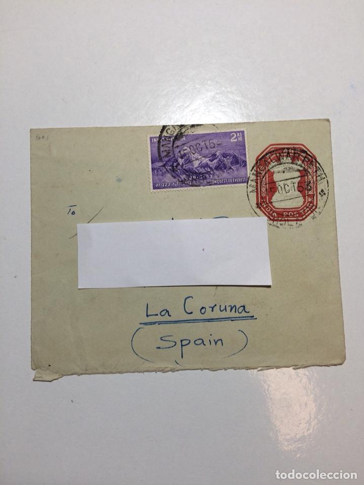 CARTA SOBRE INDIA A CORUÑA 1953 EVEREST (Sellos - Extranjero - Asia - India)
