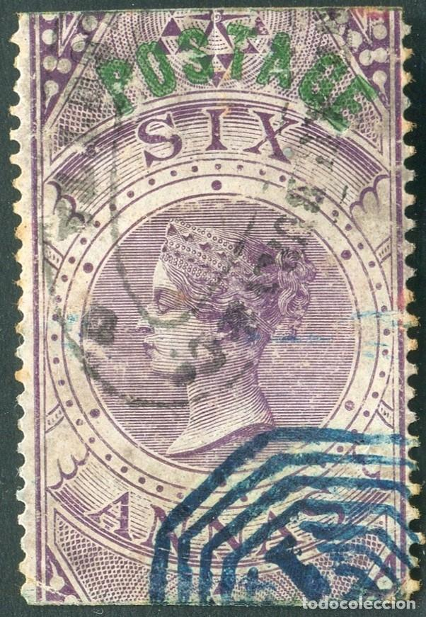 INDIA 1866 6D SG 66 USED QV STAMPED BY A.FORBIN PARIS1905 (003099) (Sellos - Extranjero - Asia - India)