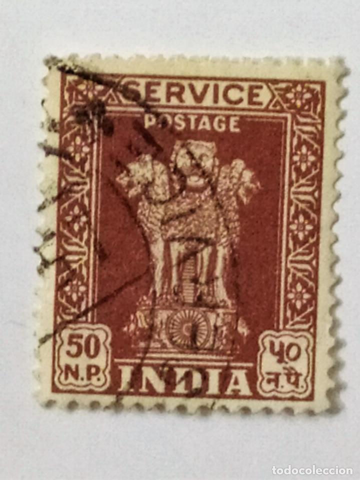SELLO DE INDIA 50 NP - 1969 - PILAR DE ASOKA - USADO SIN SEÑAL DE FIJASELLOS (Sellos - Extranjero - Asia - India)