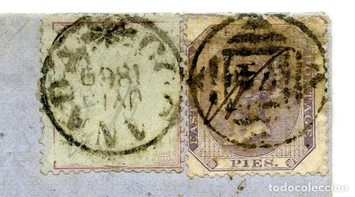 Sellos: 1869. Kakinada o Cocanadah, India a Londres, UK. Marcas de tránsito. 8p y 8 annas de papel azulado - Foto 3 - 254607365