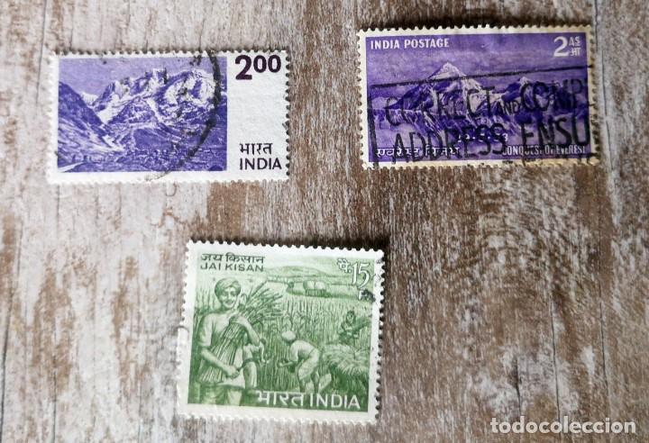 3 SELLOS INDIA USADOS - AGRICULTURA 1966 - HIMALAYA - 1953. CONQUISTA DEL MONTE EVEREST (Sellos - Extranjero - Asia - India)
