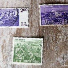 Sellos: 3 SELLOS INDIA USADOS - AGRICULTURA 1966 - HIMALAYA - 1953. CONQUISTA DEL MONTE EVEREST. Lote 277534858