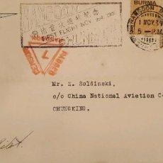 Sellos: O) 1939 BURMA, CNAC, CENSOR PASADO RANGOON, KING GEORGE V, SOBREIMPRESO EN SELLO INDIA, RANGOON PRIM. Lote 288300443