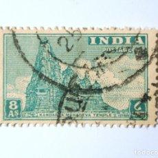 Sellos: SELLO POSTAL INDIA 1949, 8 ANNA, TEMPLO KANDRAYA MAHADEVA, USADO. Lote 293704068
