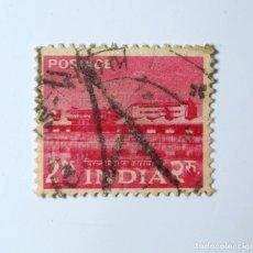 Sellos: SELLO POSTAL INDIA 1955, 2 RUPIA, ALWAYE, FABRICA DE TIERRAS, USADO. Lote 293710663