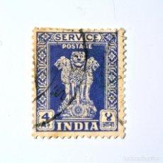 Sellos: SELLO POSTAL INDIA 1951, 4 ANNA, CAPITAL DEL PILAR DE ASOKA, USADO. Lote 293860573