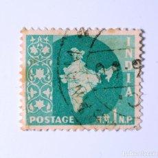Sellos: SELLO POSTAL INDIA 1957, 1 NP, MAPA DE LA INDIA, USADO. Lote 293864463