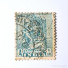 Sellos: SELLO POSTAL INDIA 1950, 1 ANNA, BODHISATTVA (RODILLA LEVANTADA A LA IZQUIERDA DEL SELLO) , USADO. Lote 293865638