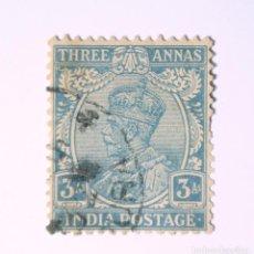Sellos: SELLO POSTAL INDIA 1926, 3 ANNA, REY GEORGE V VISTIENDO LA CORONA IMPERIAL DE LA INDIA, USADO. Lote 293873288