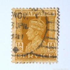 Sellos: SELLO POSTAL INDIA 1941, 1 ANNA, REY GEORGE VI VISTIENDO LA CORONA IMPERIAL DE LA INDIA, USADO. Lote 293892248