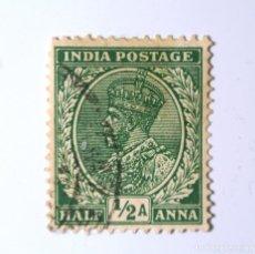Sellos: SELLO POSTAL INDIA 1934, 1/2 ANNA, REY GEORGE V VISTIENDO LA CORONA IMPERIAL DE LA INDIA, USADO. Lote 294026223
