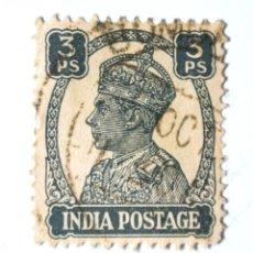 Sellos: SELLO POSTAL INDIA 1941, 3 PS, REY GEORGE VI VISTIENDO LA CORONA IMPERIAL DE LA INDIA, USADO. Lote 294027178