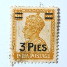 Sellos: SELLO POSTAL INDIA 1946, 3 PIES, REY GEORGE VI VISTIENDO LA CORONA IMPERIAL DE LA INDIA, USADO. Lote 294027793