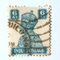 Sellos: SELLO POSTAL INDIA 1941, 6 ANNA, REY GEORGE VI VISTIENDO LA CORONA IMPERIAL DE LA INDIA, USADO. Lote 294028533