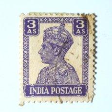 Sellos: SELLO POSTAL INDIA 1941, 3 ANNA, REY GEORGE VI VISTIENDO LA CORONA IMPERIAL DE LA INDIA, USADO. Lote 294036713