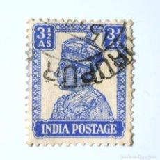 Sellos: SELLO POSTAL INDIA 1943, 3 1/2 ANNA, REY GEORGE VI VISTIENDO LA CORONA IMPERIAL DE LA INDIA, USADO. Lote 294037073