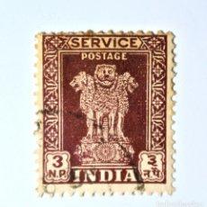 Sellos: SELLO POSTAL INDIA 1957, 3 NP, CAPITAL DEL PILAR DE ASOKA, USADO. Lote 294040583