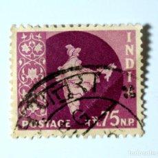 Sellos: SELLO POSTAL INDIA 1959, 75 NP, MAPA DE LA INDIA, USADO. Lote 294081853
