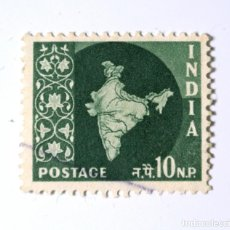 Sellos: SELLO POSTAL INDIA 1958, 10 NP, MAPA DE LA INDIA, USADO. Lote 294082833