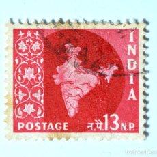 Sellos: SELLO POSTAL INDIA 1957, 2 NP, MAPA DE LA INDIA, USADO. Lote 294084798