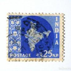 Sellos: SELLO POSTAL INDIA 1957, 25 NP, MAPA DE LA INDIA, USADO. Lote 294085538
