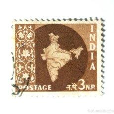 Sellos: SELLO POSTAL INDIA 1958, 3 NP, MAPA DE LA INDIA, USADO. Lote 294086318