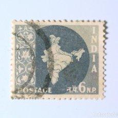 Sellos: SELLO POSTAL INDIA 1957, 6 NP, MAPA DE LA INDIA, USADO. Lote 294087758