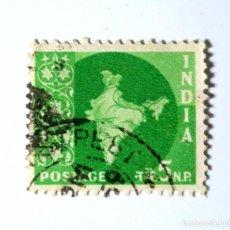 Sellos: SELLO POSTAL INDIA 1958, 5 NP, MAPA DE LA INDIA, USADO. Lote 294089118