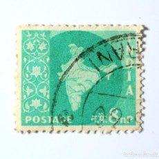 Sellos: SELLO POSTAL INDIA 1958, 8 NP, MAPA DE LA INDIA, USADO. Lote 294089888