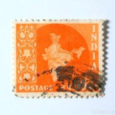 Sellos: SELLO POSTAL INDIA 1957, 50 NP, MAPA DE LA INDIA, USADO. Lote 294090518