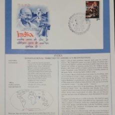 Sellos: O) 1976 INDIA, MAHATMA GANDHI, HOMENAJE INTERNACIONAL AL BICENTENARIO DE AMÉRICA, XF. Lote 295388693