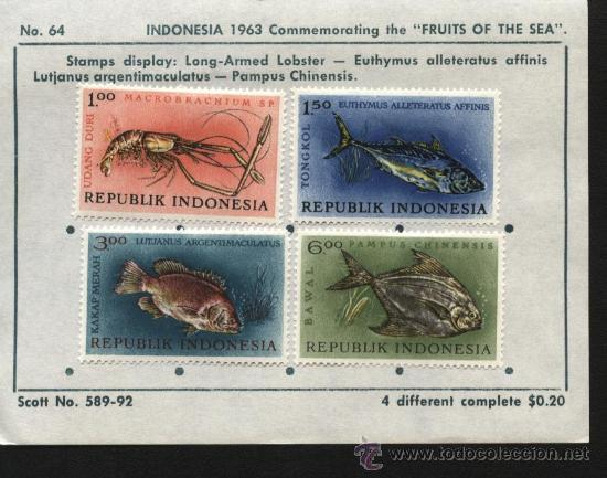 SELLOS INDONESIA 1963 FRUITS OF THE SEA (Sellos - Extranjero - Asia - Indonesia)