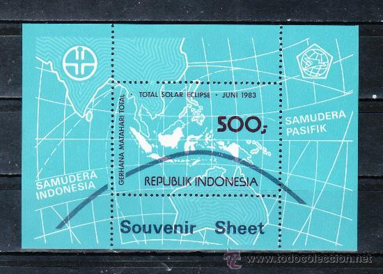 INDONESIA HB 51 SIN CHARNELA, MAPA, ECLIPSE SOLAR TOTAL, (Sellos - Extranjero - Asia - Indonesia)