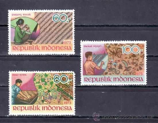 INDONESIA 664/6 SIN CHARNELA, ARTE Y CULTURA, (Sellos - Extranjero - Asia - Indonesia)