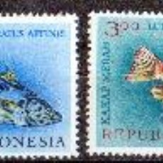 Sellos: INDONESIA AÑO 1963 YV 330/33* FAUNA MARINA - PECES - NATURALEZA. Lote 27786523