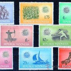 Sellos: INDONESIA AÑO 1963 YV 351/58* JUEGOS DEPORTIVOS MILITARES - DEPORTES - VELA - ATLETISMO. Lote 27786616