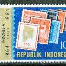 Sellos: INDONESIA AÑO 1964 MI 443* CENTENARIO DEL SELLO - SELLO SOBRE SELLO - FILATÉLIA. Lote 27786885