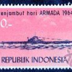 Sellos: INDONESIA AÑO 1964 MI 457/59* DÍA DE LA ARMADA INDONESIA - BARCOS - TRANSPORTES. Lote 27787130