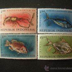 Sellos: INDONESIA 1963 IVERT 330/3 *** FAUNA MARINA - PECES. Lote 30060169