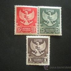 Sellos: INDONESIA 1950 IVERT 21/3 * 5º ANIVERSARIO DE LA DERROTA DE JAPON - ESCUDOS. Lote 30197126
