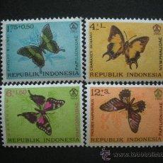 Sellos: INDONESIA 1963 IVERT 359/62 *** MARIPOSAS - FAUNA. Lote 30309373