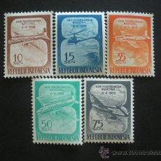 Sellos - Indonesia 1958 Ivert 156/60 *** Día de la Aviación Nacional - Aviones - 30309400