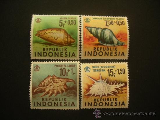 INDONESIA 1969 IVERT 586/9 *** FAUNA MARINA - CONCHAS (Sellos - Extranjero - Asia - Indonesia)
