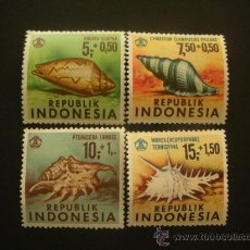 Sellos: INDONESIA 1969 IVERT 586/9 *** FAUNA MARINA - CONCHAS. Lote 32230627