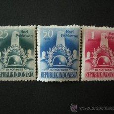 Sellos: INDONESIA 1955 IVERT 109/11 * DÍA DE LOS HEROES. Lote 32775449