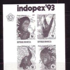 Sellos: INDONESIA *** - AÑO 1993 - EXPOSICIÓN FILATÉLICA NACIONAL - HOJA CONMEMORATIVA - FAUNA - SIMIOS. Lote 36230867