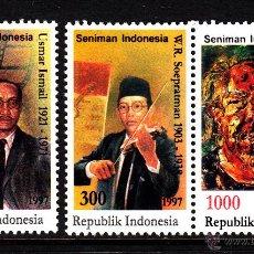 Sellos: INDONESIA 1512/14** - AÑO 1997 - ARTISTAS INDONESIOS - MUSICA - CINE - PINTURA . Lote 40929943