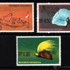 Sellos: INDONESIA 342/44** - AÑO 1963 - ADMINISTRACION DE NUEVA GUINEA HOLANDESA - FAUNA - AVES - MAPAS . Lote 150033906