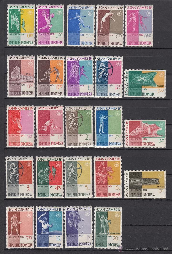 INDONESIA 283/306 SIN CHARNELA, DEPORTE, 4º JUEGOS DEPORTIVOS ASIATICOS, (Sellos - Extranjero - Asia - Indonesia)